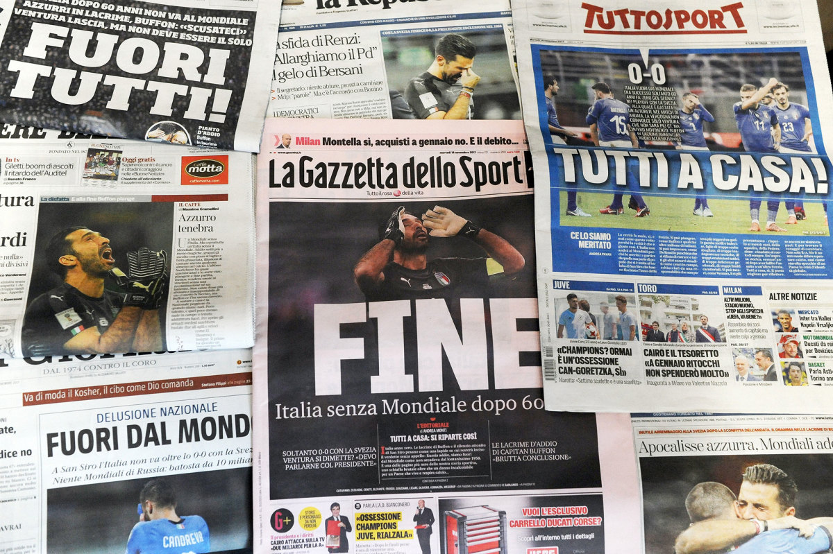Italian newspapers after Italy missed the 2018 World Cup