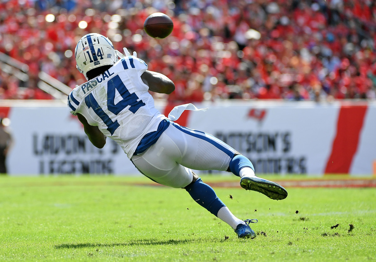 Dec 8, 2019; Tampa, FL, USA; Indianapolis Colts wide receiver Zach Pascal (14) makes a catch against the Tampa Bay Buccaneers during the first half at Raymond James Stadium.