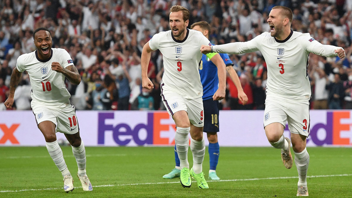 Luke Shaw scores for England at the Euro 2020 final