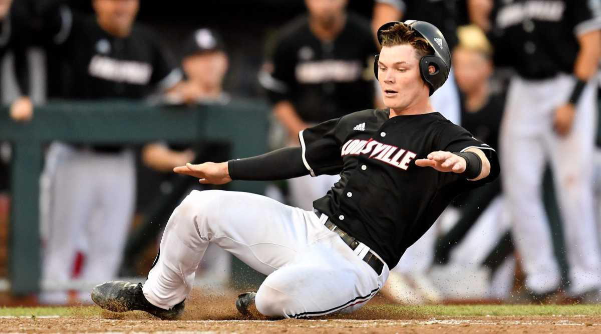 Louisville catcher Henry Davis scores against Vanderbilt during the seventh inning of the College World Series game at TD Ameritrade Park Friday.