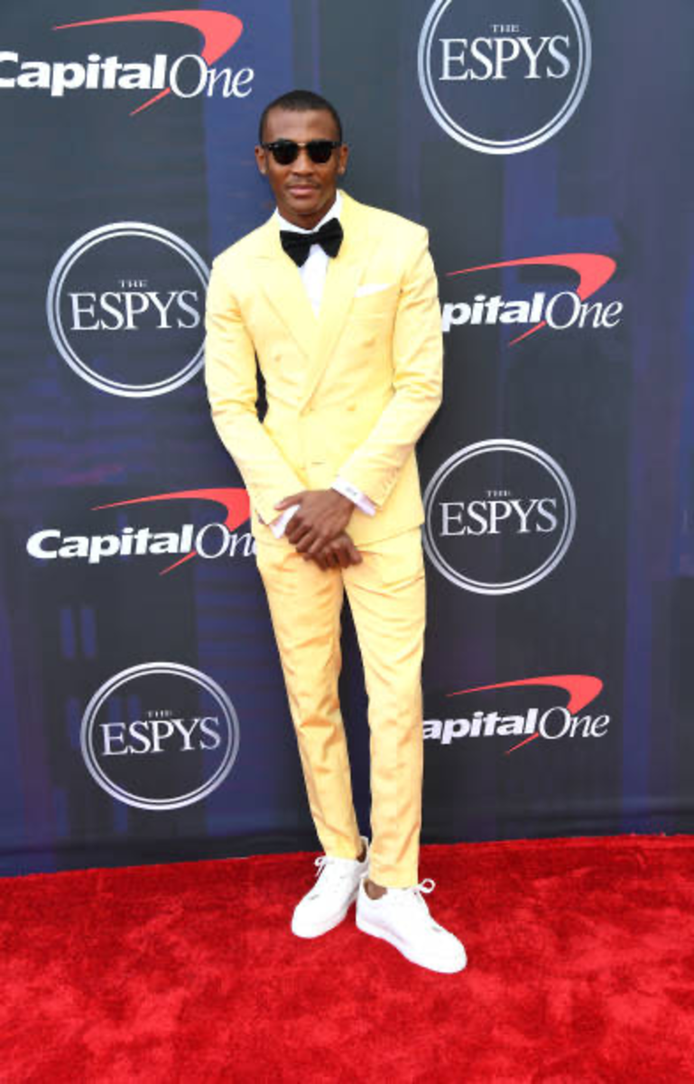 DeVonta Smith at the ESPYs, where he won college athlete of the year for male sports on July 10, 2021
