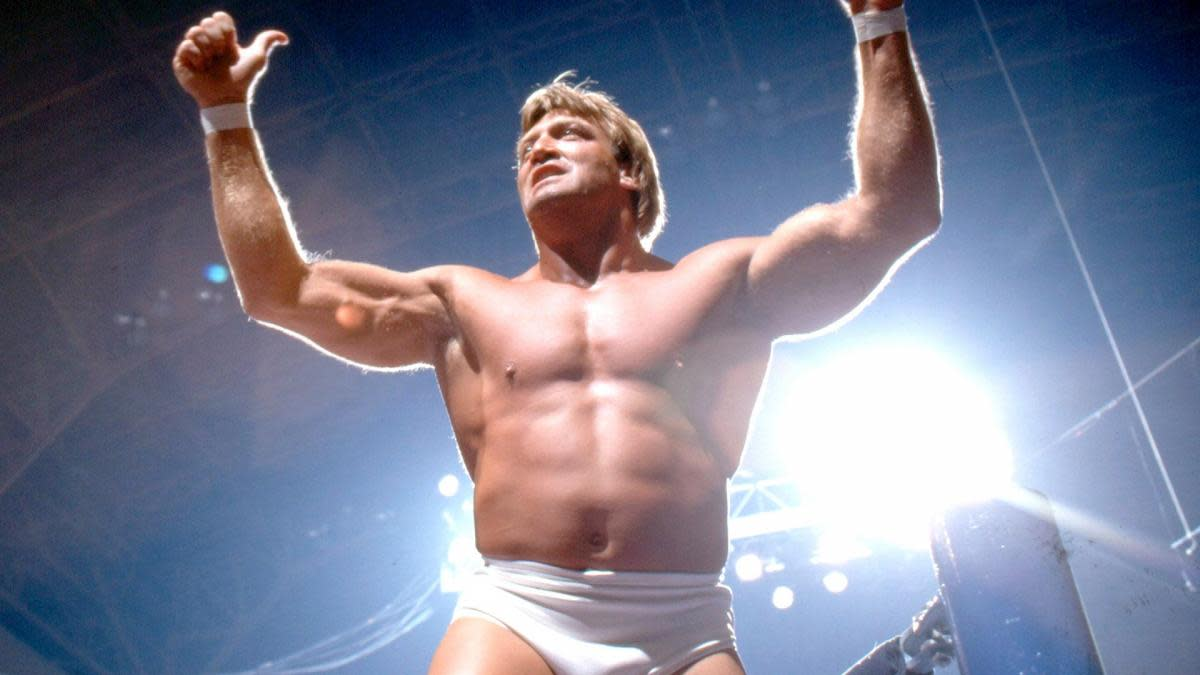 """""""Mr. Wonderful"""" Paul Orndorff poses in the ring"""