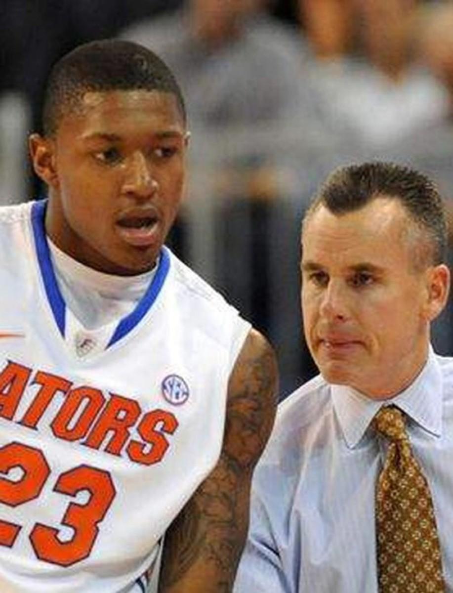 Photo: Bradley Beal and Billy Donovan; Credit: University of Florida athletic association