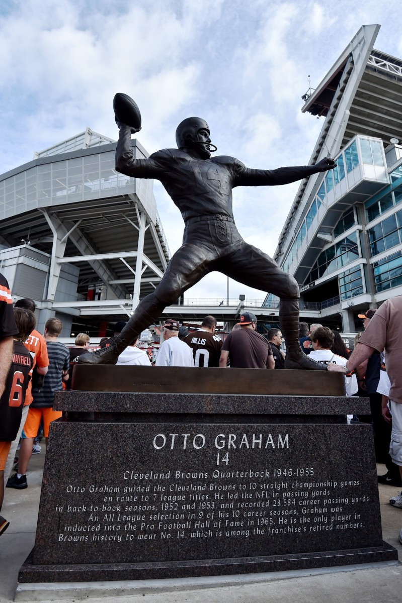 Sep 8, 2019; Cleveland, OH, USA; A general view of the newly erected statue of former Cleveland Browns quarterback Otto Graham outside of FirstEnergy Stadium. Mandatory Credit: Ken Blaze-USA TODAY Sports