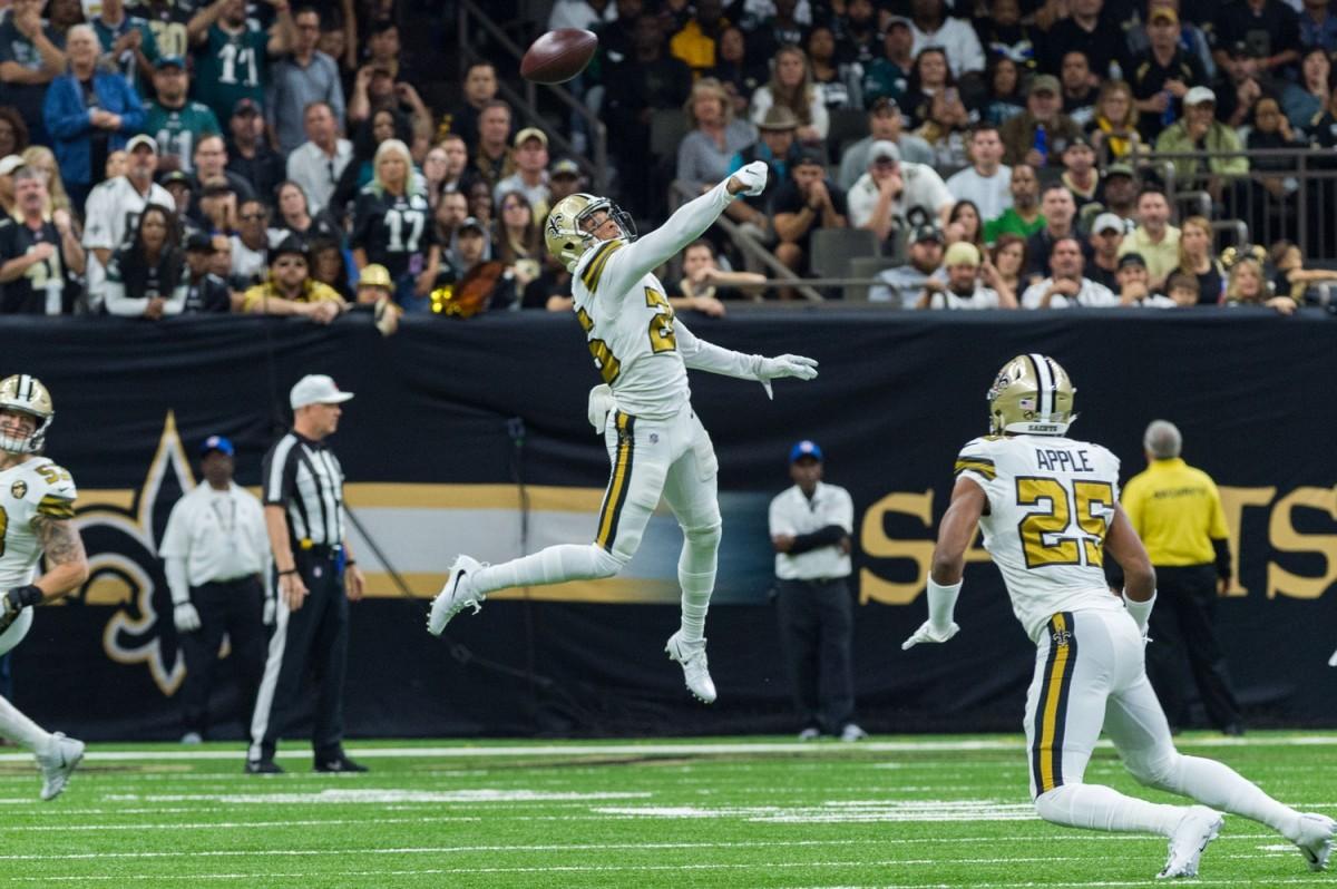 Saints cornerback P.J. Williams breaks up a pass.© SCOTT CLAUSE/USA TODAY Network