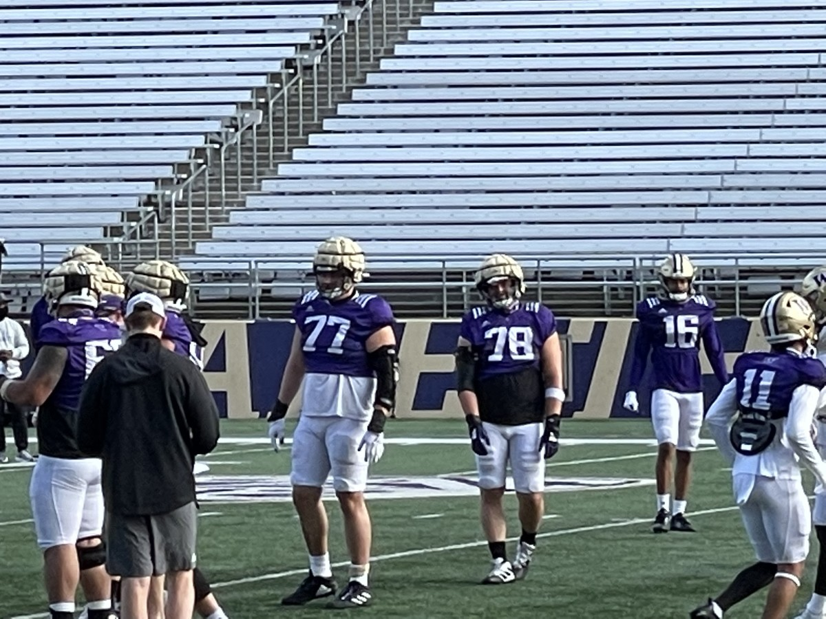 Julius Buelow (77) and Matteo Mele (78) are backup Husky linemen waiting their turn.