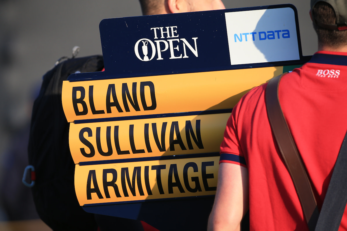 Rochard Bland opened the 149th British Open with fellow Englishmen Andy Sullivan and Marcus Armitage. Bland shot a first-round 70; Armitage a 69; and Sullivan a 67.