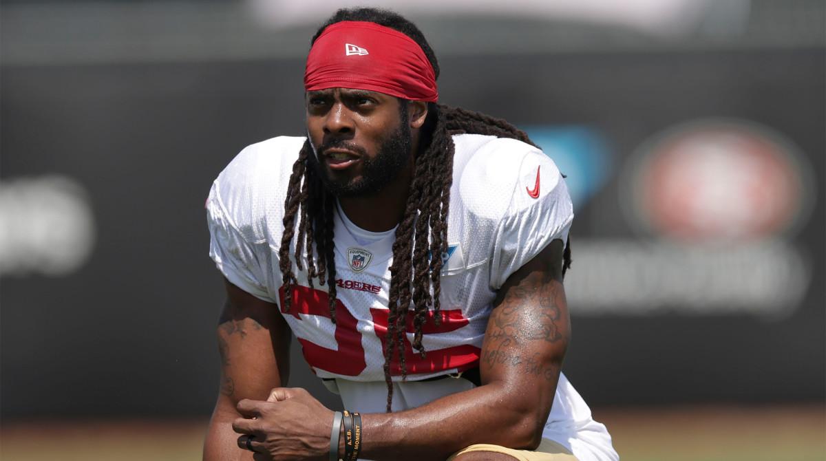 Aug 17, 2020; Santa Clara, CA, USA; San Francisco 49ers cornerback Richard Sherman (25) looks on during training camp at SAP Performance Facility.