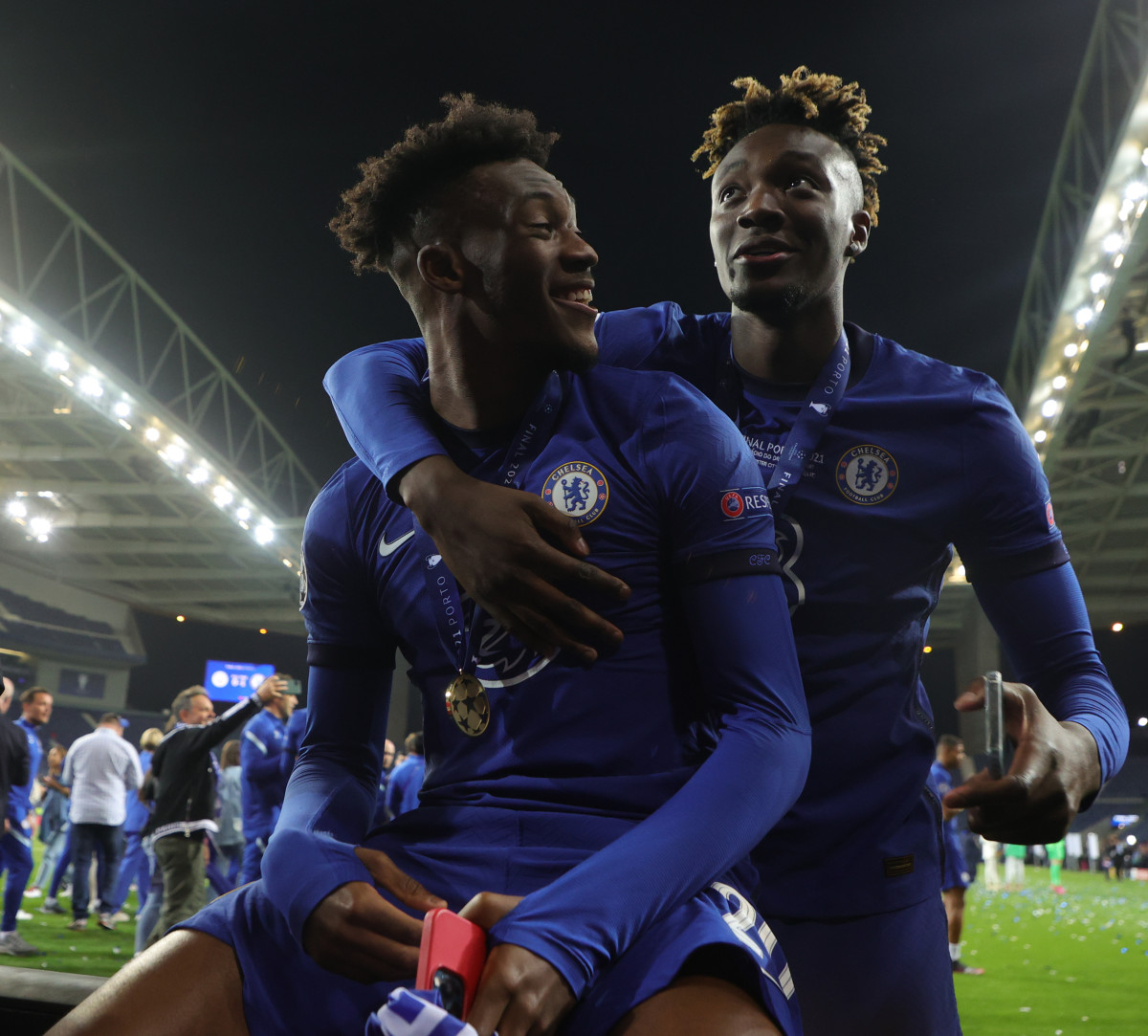 Hudson-Odoi and Tammy Abraham following Chelsea's Champions League win