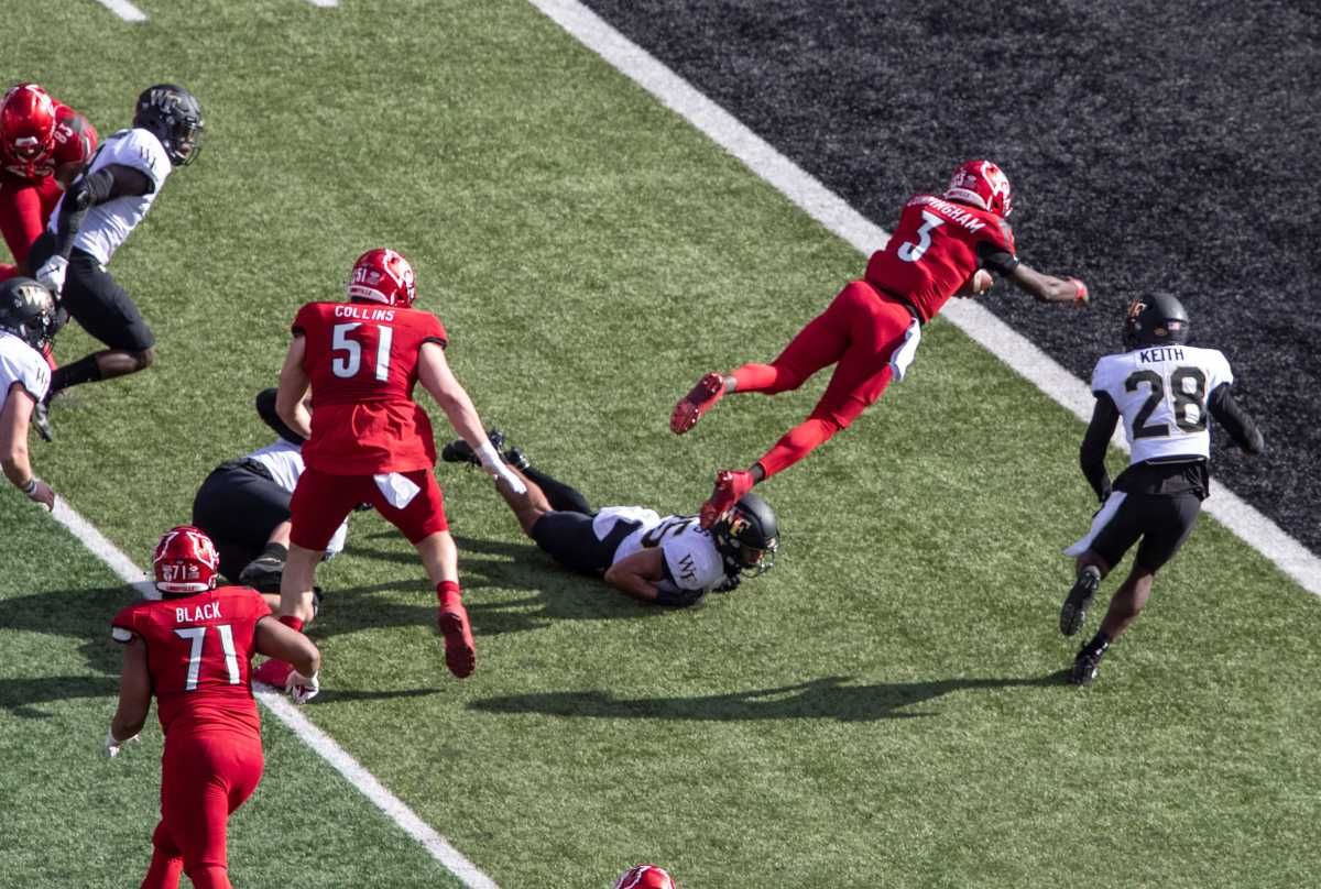 Louisville QB Malik Cunningham diving for the end zone