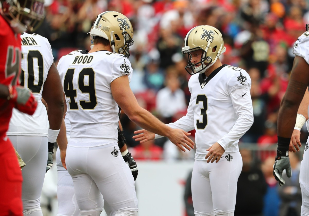 New Orleans Saints kicker Wil Lutz (3) is congratulated by long snapper Zach Wood (49) after kicking a field goal against Tampa Bay. Mandatory Credit: Kim Klement-USA TODAY