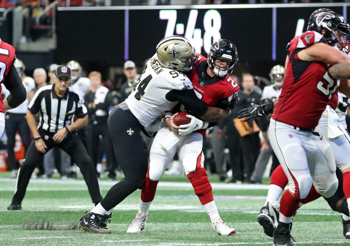 Atlanta quarterback Matt Ryan (2) gets sacked by Saints defensive end Cameron Jordan (94). Mandatory Credit: Jason Getz-USA TODAY Sports