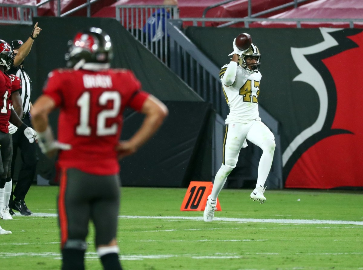 Nov 8, 2020; Tampa, Florida, USA; New Orleans Saints free safety Marcus Williams (43) celebrates as he intercepted the ball against the Tampa Bay Buccaneers during the first half at Raymond James Stadium. Mandatory Credit: Kim Klement-USA TODAY Sports