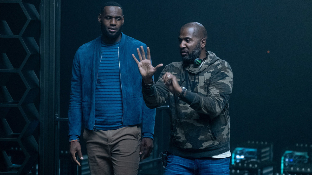 """LEBRON JAMES and Director MALCOLM D. LEE on the set of Warner Bros. Pictures' animated/live-action adventure """"SPACE JAM: A NEW LEGACY,"""" a Warner Bros. Pictures release"""
