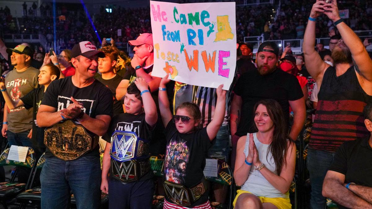Fans in the crowd at WWE's Money in the Bank