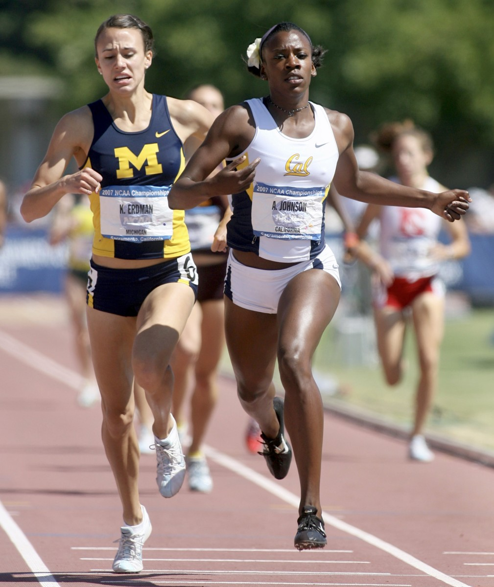 Alysia Johnson Montaño sprints to victory in the 800 meters at the 2007 NCAA Championships.