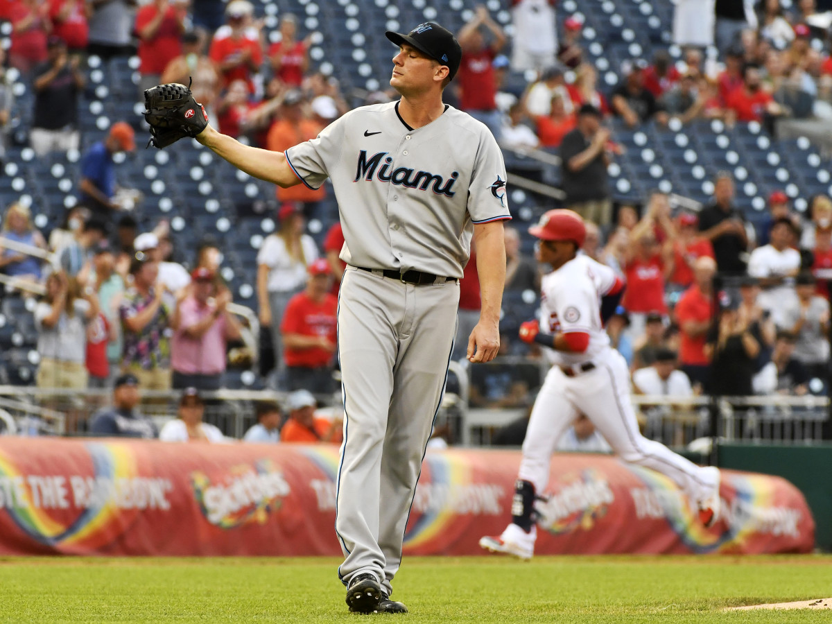 Jul 19, 2021; Washington, District of Columbia, USA; Miami Marlins relief pitcher Ross Detwiler (54) reacts after giving up a two run home run to Washington Nationals left fielder Juan Soto (22) at Nationals Park.