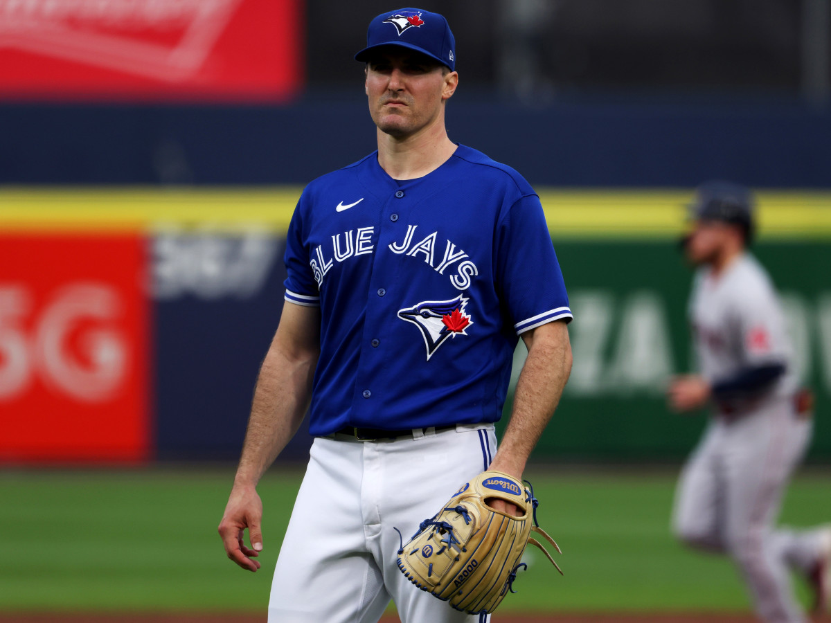 Blue Jays righthander Ross Stripling, looking empty inside, after allowing a grand slam to Boston's Hunter Renfroe, the second of two home runs he gave up in the first inning Monday.