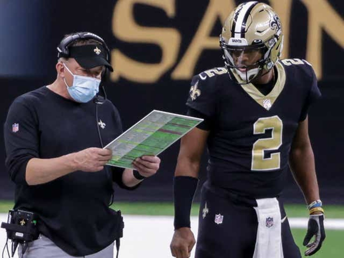 New Orleans Saints head coach Sean Payton with quarterback Jameis Winston (2). Credit: USA TODAY