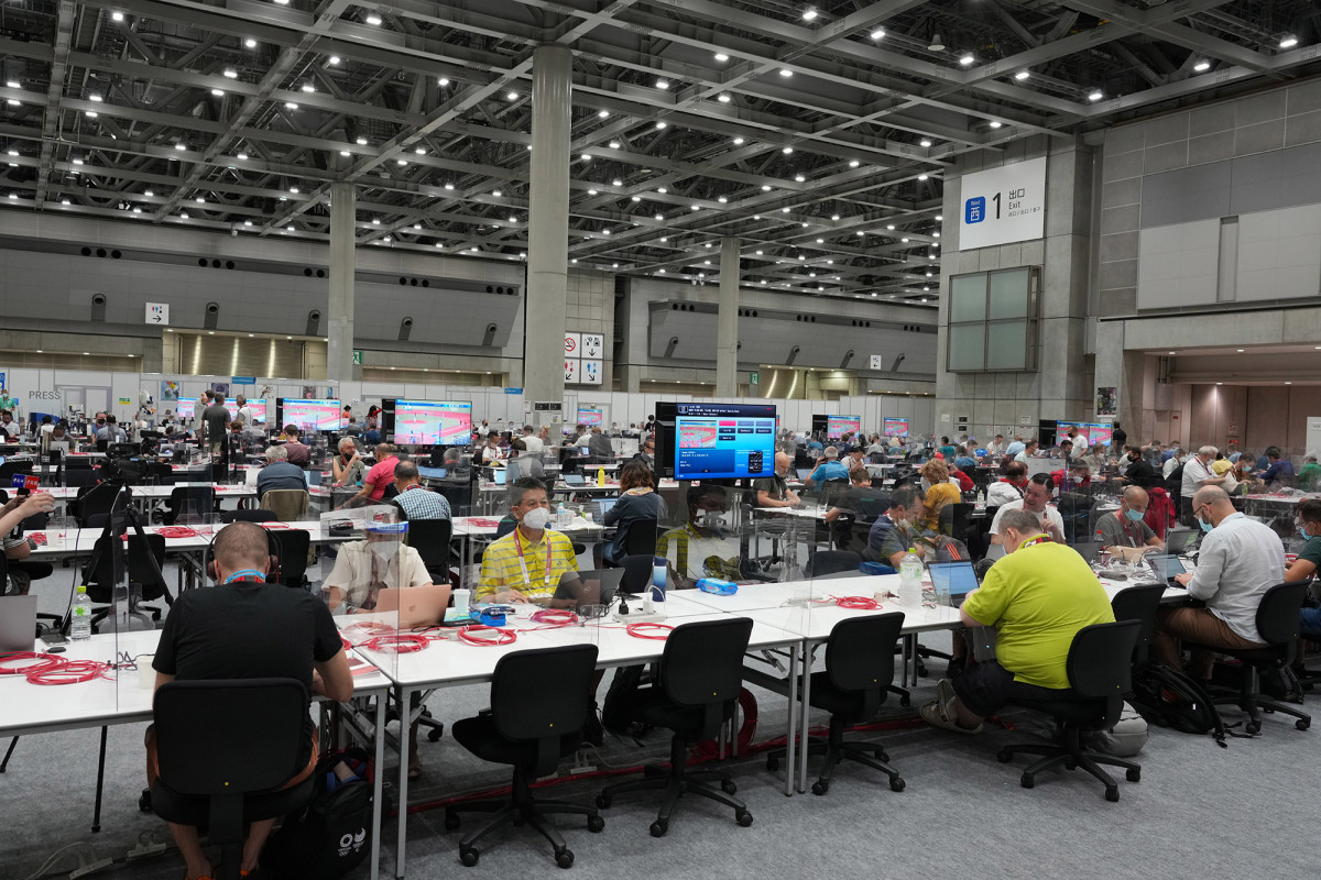 The press and photographers' workroom at the Main Press Center in Tokyo.