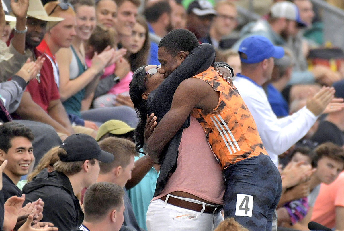 At the 2018 U.S. championships, Lyles celebrated a win in the 100 with his equally extroverted mother.