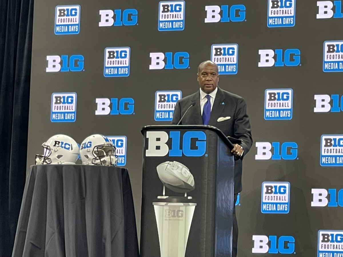 Big Ten Commissioner Kevin Warren addresses the media from Lucas Oil Stadium during Big Ten Media Days.
