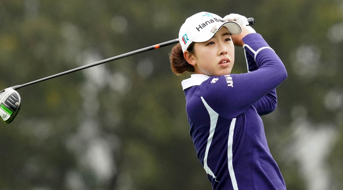 Yealimi Noh hits her tee shot on the 2nd hole during the first round of the U.S. Women's Open golf tournament at The Olympic Club.