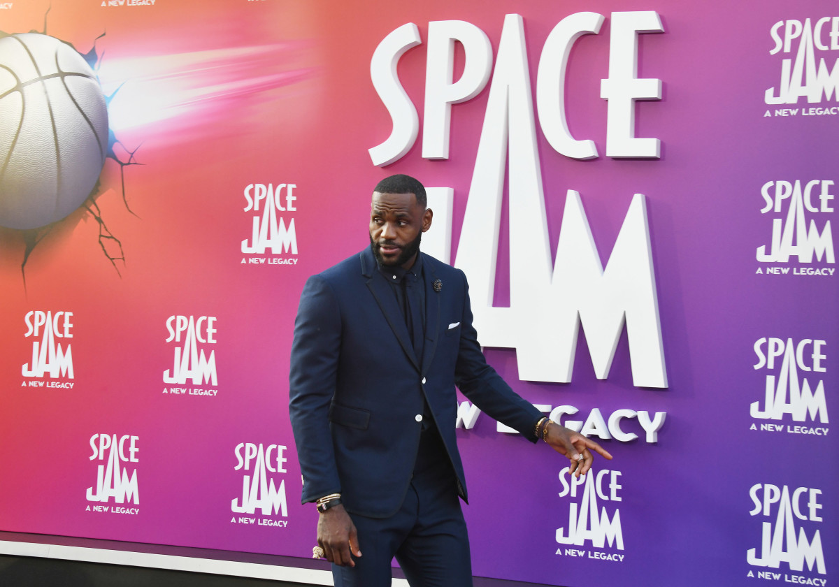 LeBron James arrives at the SPACE JAM: A NEW LEGACY World Premiere held at the Regal L.A. LIVE in Los Angeles, CA on Monday, July 12, 2021. (Photo By Sthanlee B. Mirador/Sipa USA)