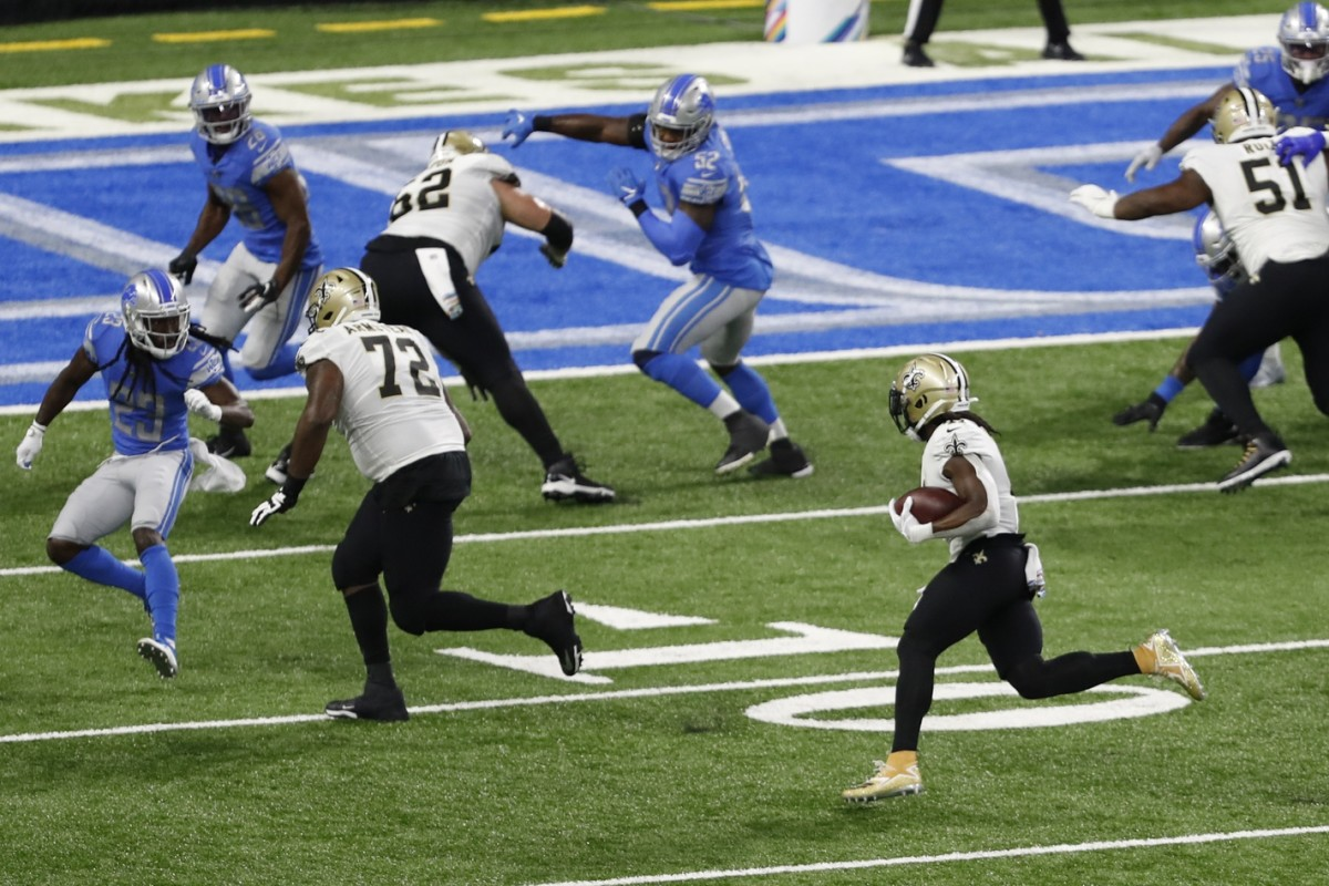New Orleans Saints running back Alvin Kamara (41) runs the ball against Detroit. Mandatory Credit: Raj Mehta-USA TODAY Sports