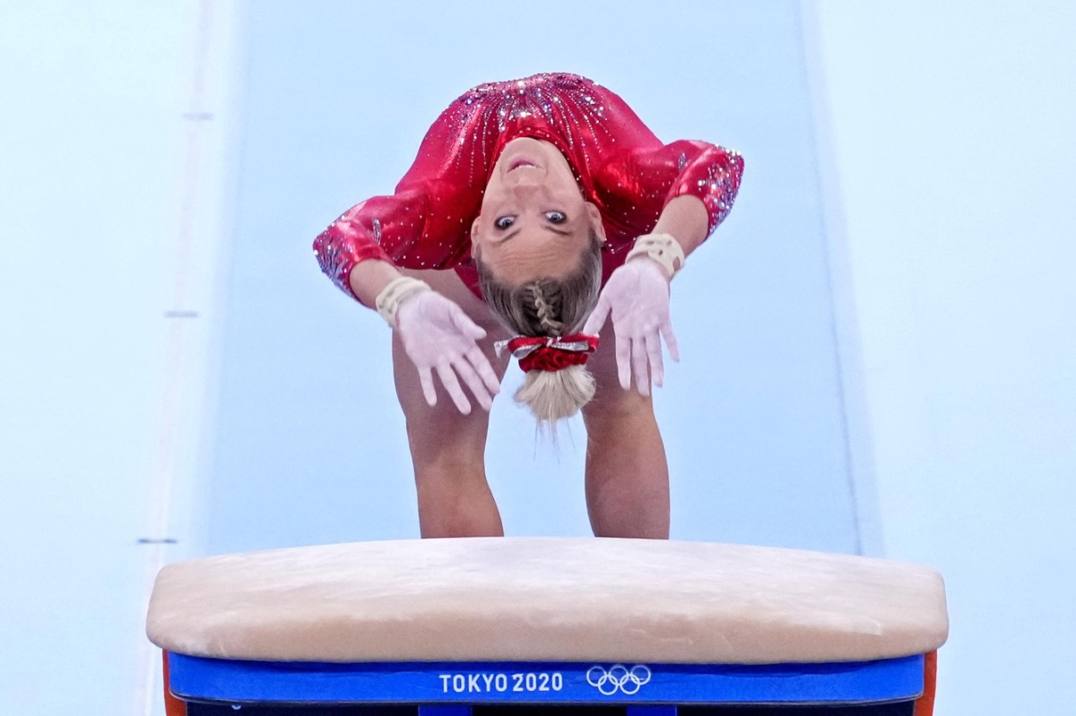 Jul 25, 2021; Tokyo, Japan; Mykayla Skinner (USA) competes on the vault in the womens gymnastics qualifications during the Tokyo 2020 Olympic Summer Games at Ariake Gymnastics Centre. Mandatory Credit: Robert Deutsch-USA TODAY Network
