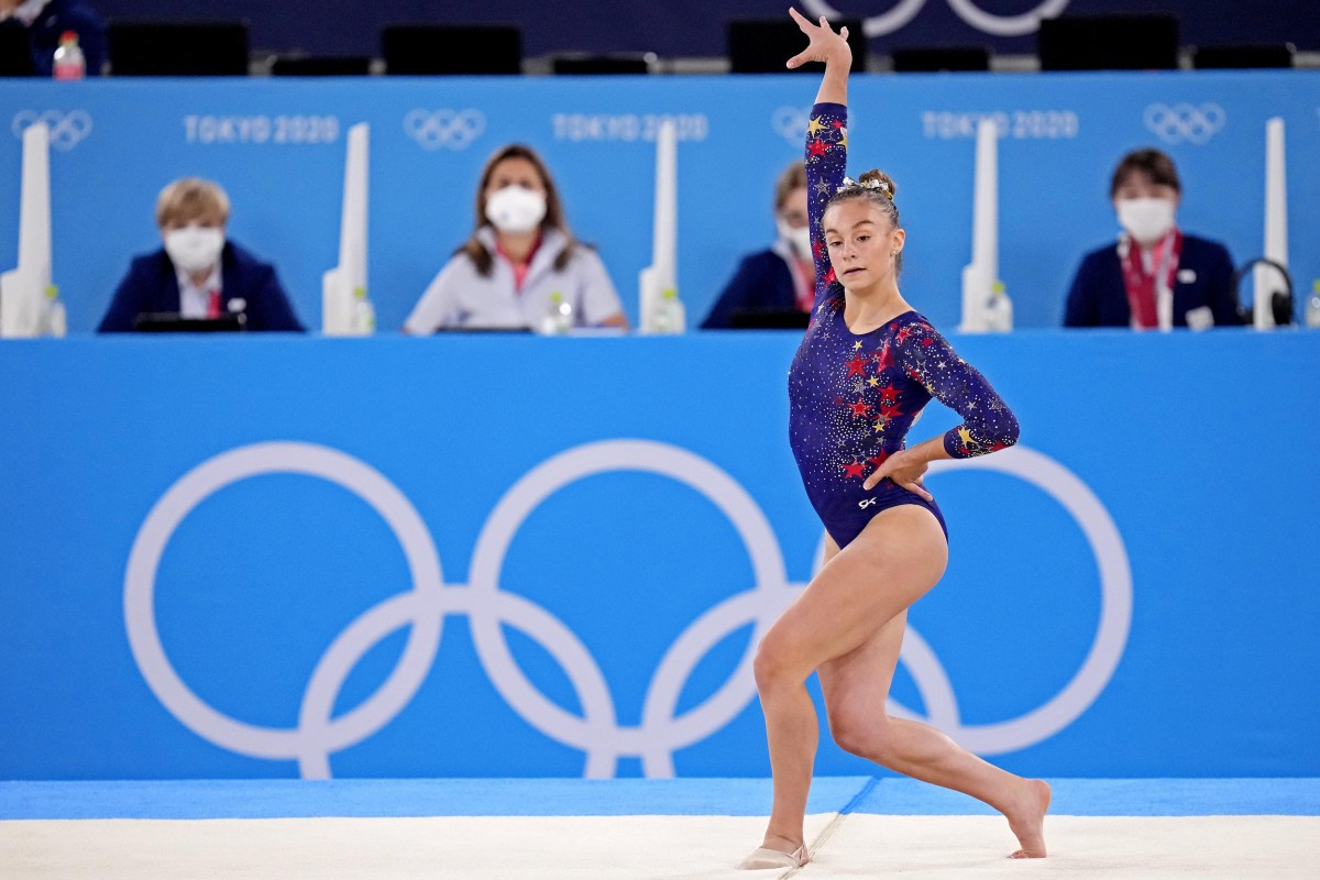 Jul 25, 2021; Tokyo, Japan; Grace McCallum (USA) competes on the floor in the womens gymnastics qualifications during the Tokyo 2020 Olympic Summer Games at Ariake Gymnastics Centre. Mandatory Credit: Danielle Parhizkaran-USA TODAY Network