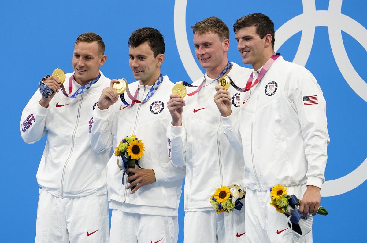 U.S. men win gold in 4X100-meter freestyle relay in Tokyo Olympics
