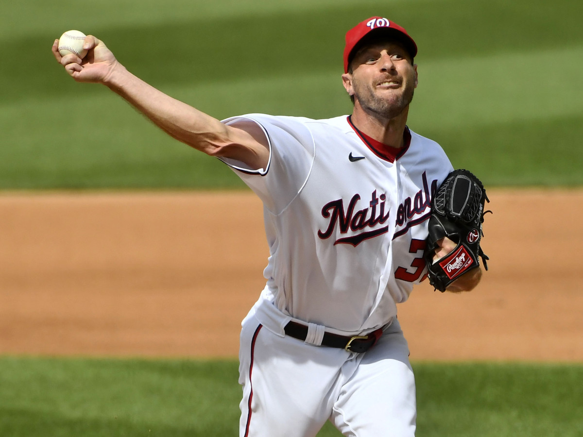 Jul 18, 2021; Washington, District of Columbia, USA; Washington Nationals starting pitcher Max Scherzer (31) throws a pitch against the San Diego Padres during the fourth inning at Nationals Park.