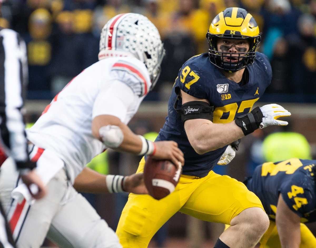Aidan Hutchinson's size and strength make him an intriguing defensive end prospect.