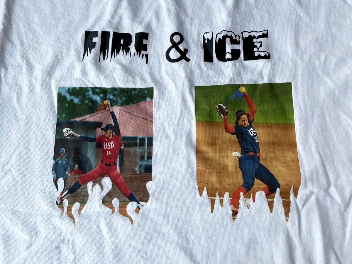 Monica Abbott and Cat Osterman featured on Team USA softball t-shirts.