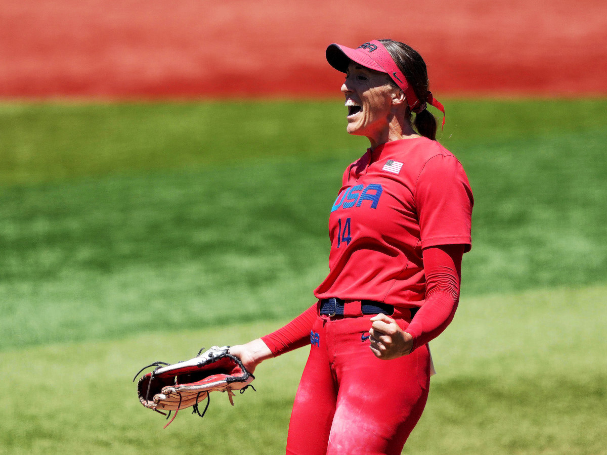 Jul 25, 2021; Yokohama, Japan; Team United States starting pitcher Monica Abbott (14) celebrates after a strike out in the sixth inning with bases loaded against Australia during the Tokyo 2020 Olympic Summer Games at Yokohama Baseball Stadium.