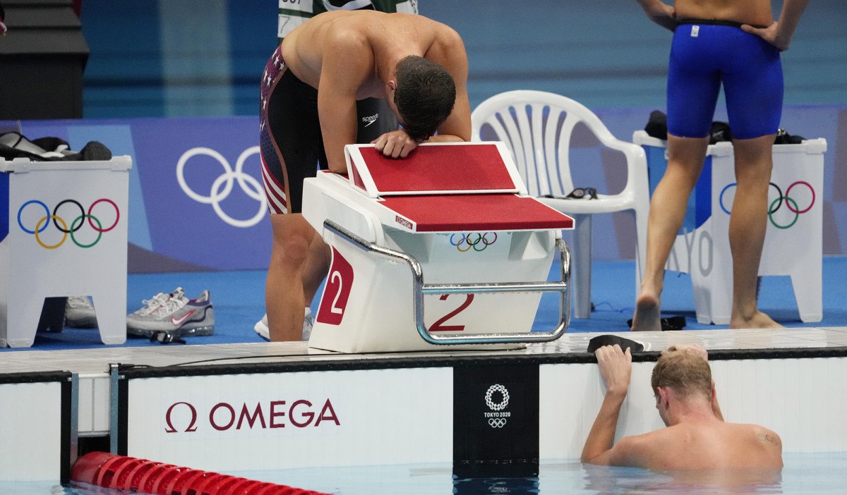 Apple and Haas after the men's 4x200-meter freestyle relay.
