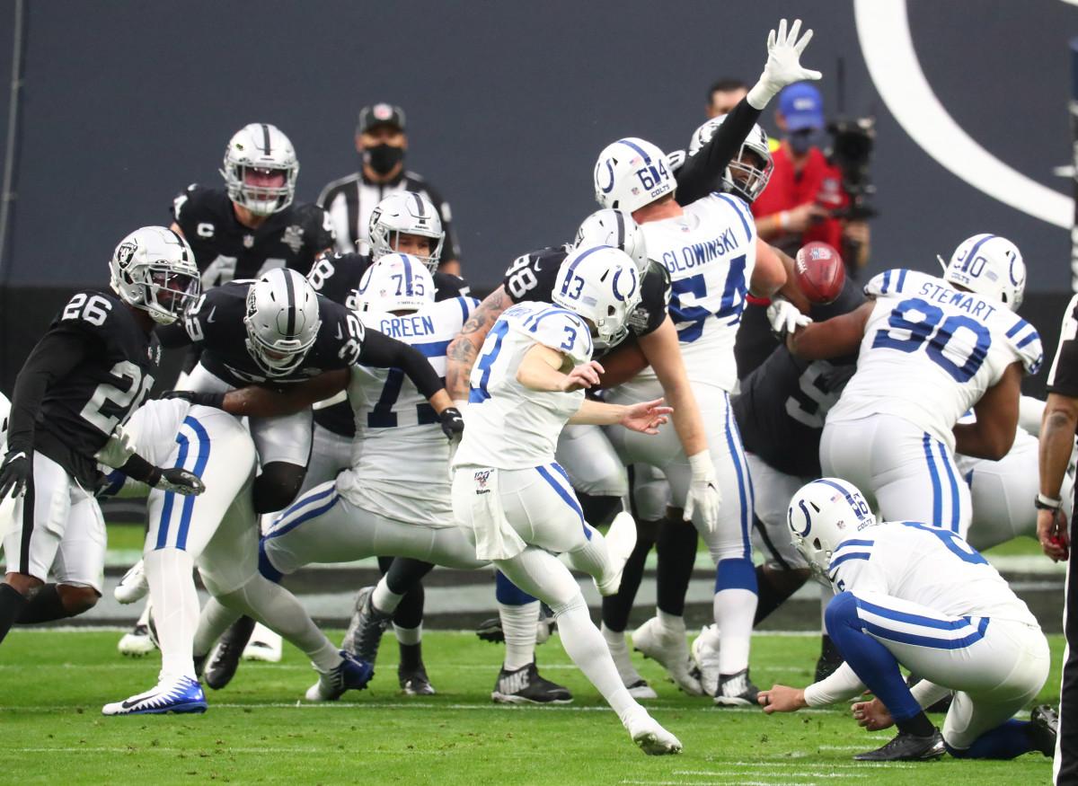 Dec 13, 2020; Paradise, Nevada, USA; Indianapolis Colts kicker Rodrigo Blankenship (3) kicks a field goal against the Las Vegas Raiders during the first half at Allegiant Stadium.