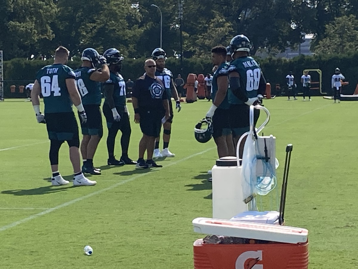 Jeff Stoutland gives instruction to his OL on July 28, 2021