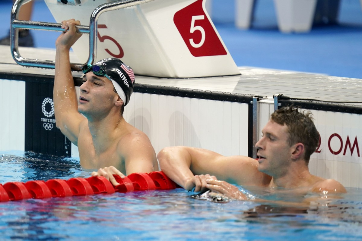 Bryce Mefford (left) and Ryan Murphy after their semifinal heat. Photo by Grace Hollars, USA Today