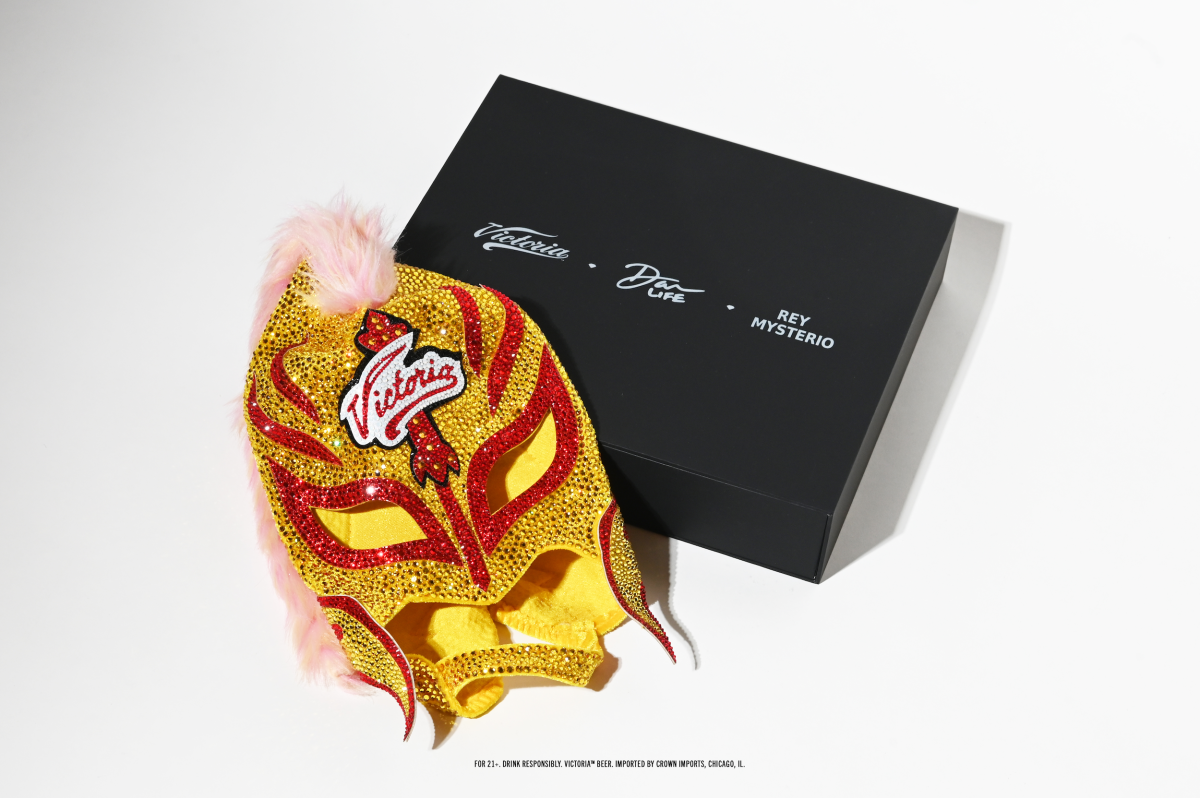 Rey Mysterio's lucha mask from Victoria beer