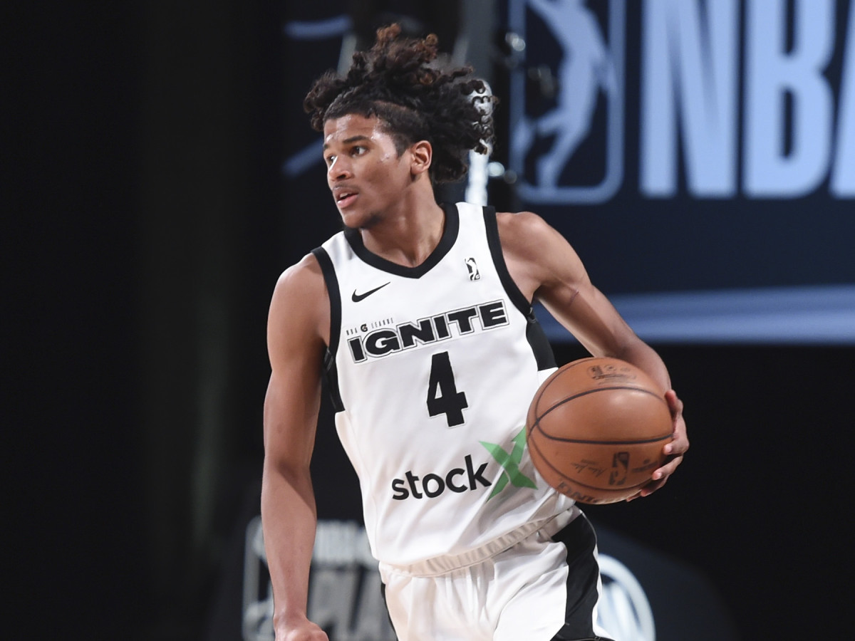 Jalen Green #4 of Team Ignite handles the ball during the game against the Raptors 905 during the NBA G League Playoffs on March 8, 2021 at AdventHealth Arena in Orlando, Florida.