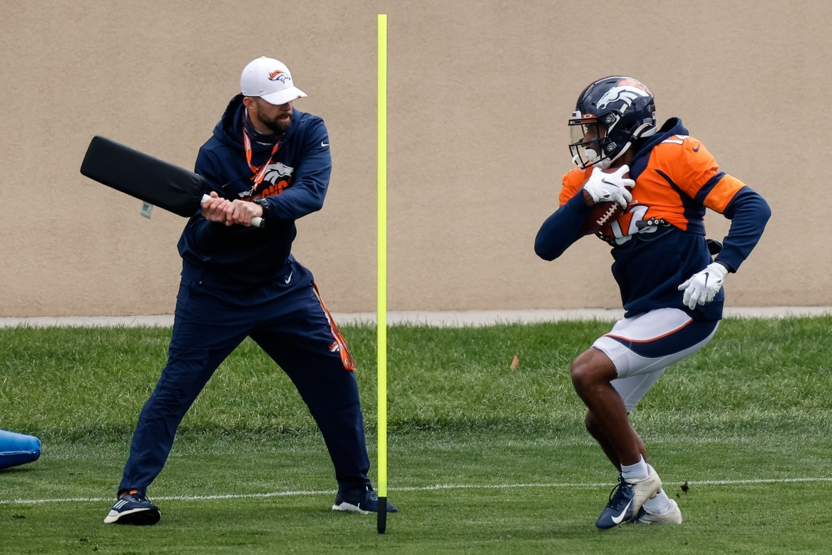 Denver Broncos wide receiver Trinity Benson (12) runs a drill during practice at UCHealth Training Center.