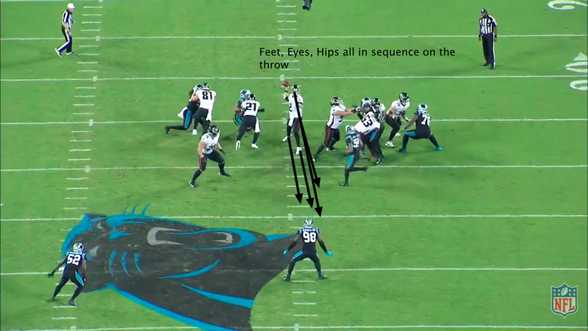 Matt Ryan perfectly aligned and closed while throwing over the middle.
