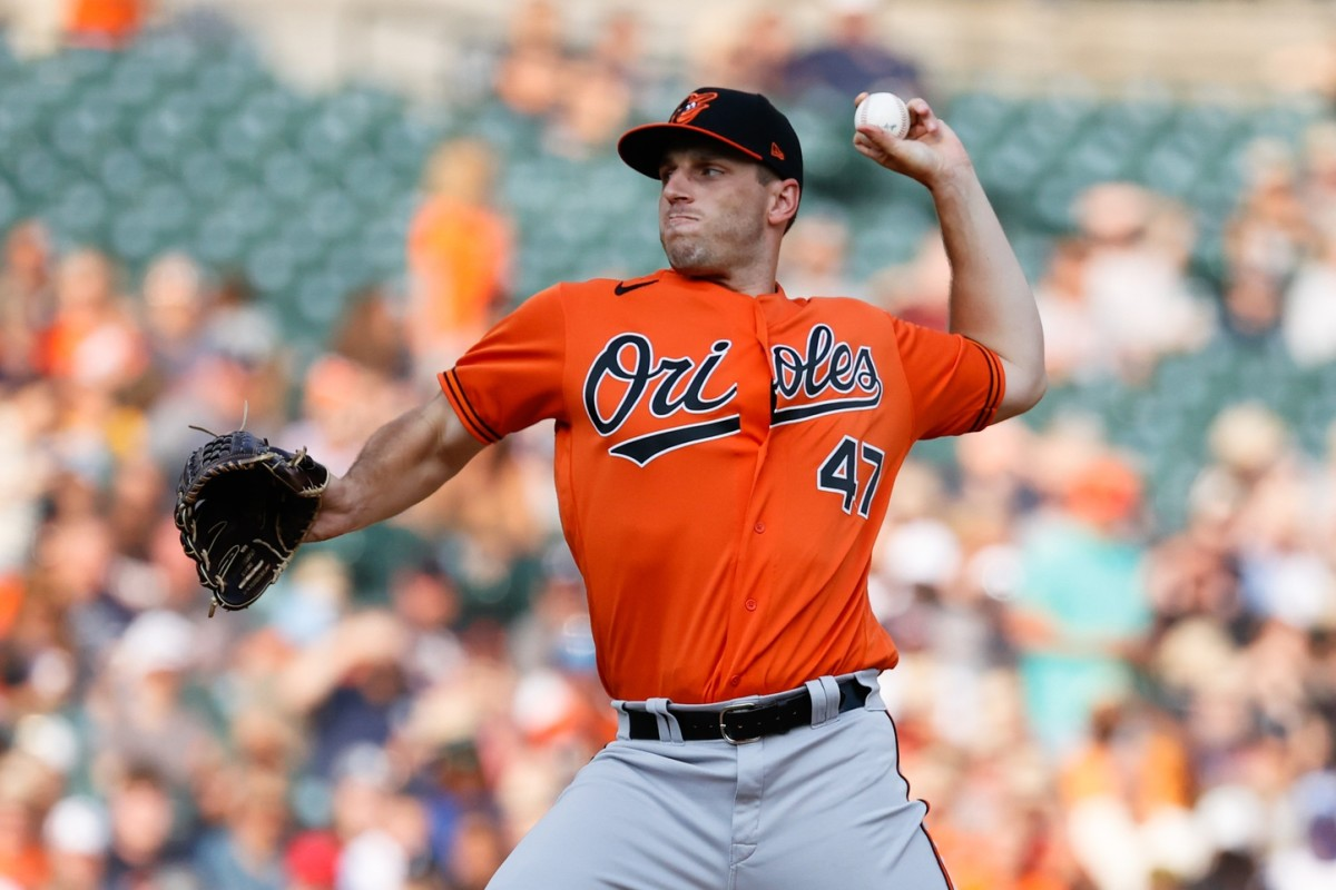 Jul 31, 2021; Detroit, Michigan, USA; Baltimore Orioles starting pitcher John Means (47) pitches in the second inning against the Detroit Tigers at Comerica Park.