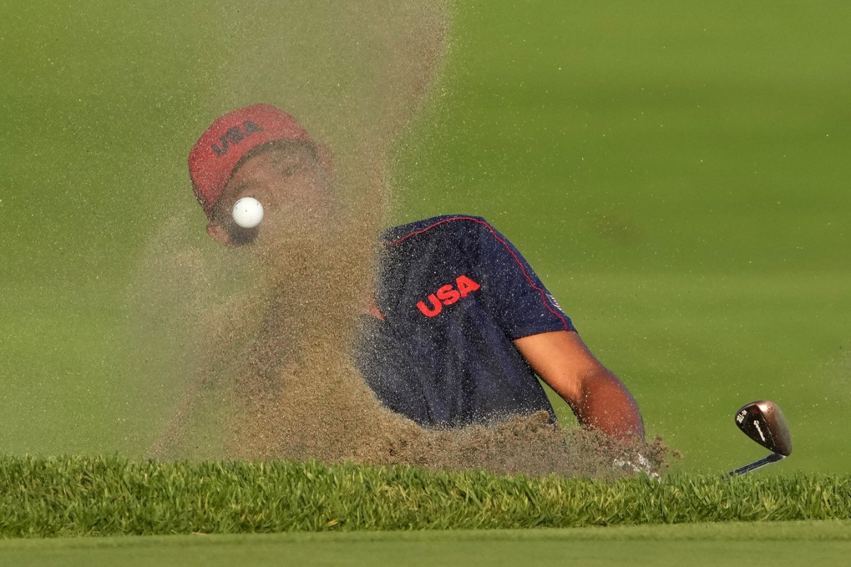 Collin Morikawa's shot from the bunker. Photo by Kyle Terada, USA Today