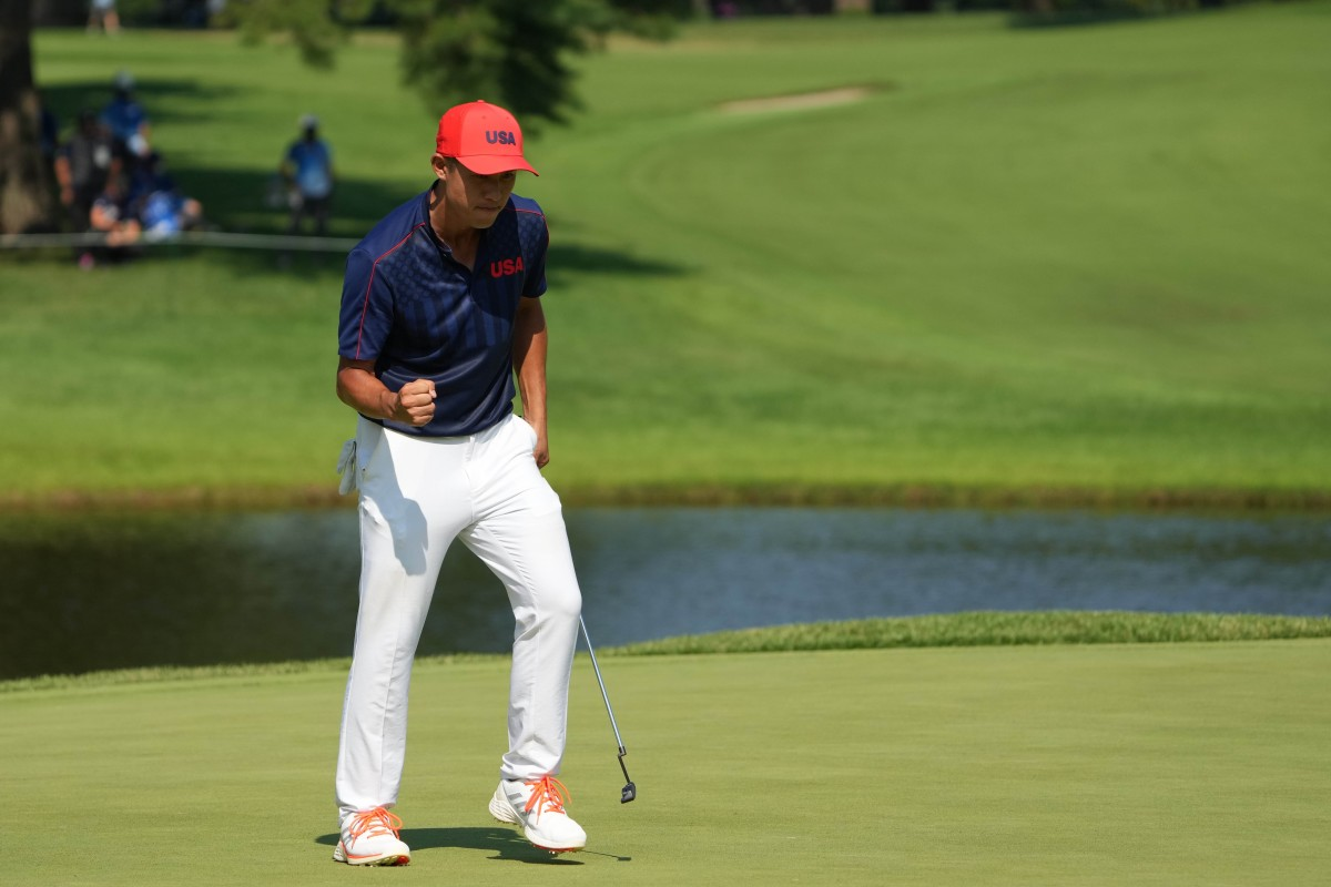 Collin Morikawa after sinking a birdie putt on his final hole of regulation. Photo by Kyle Terada, USA Today