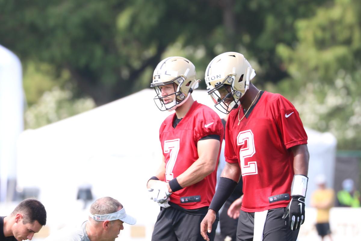 Saints quarterbacks Taysom Hill and Jameis Winston at Saints Training Camp, Day 3 on July 31, 2021.