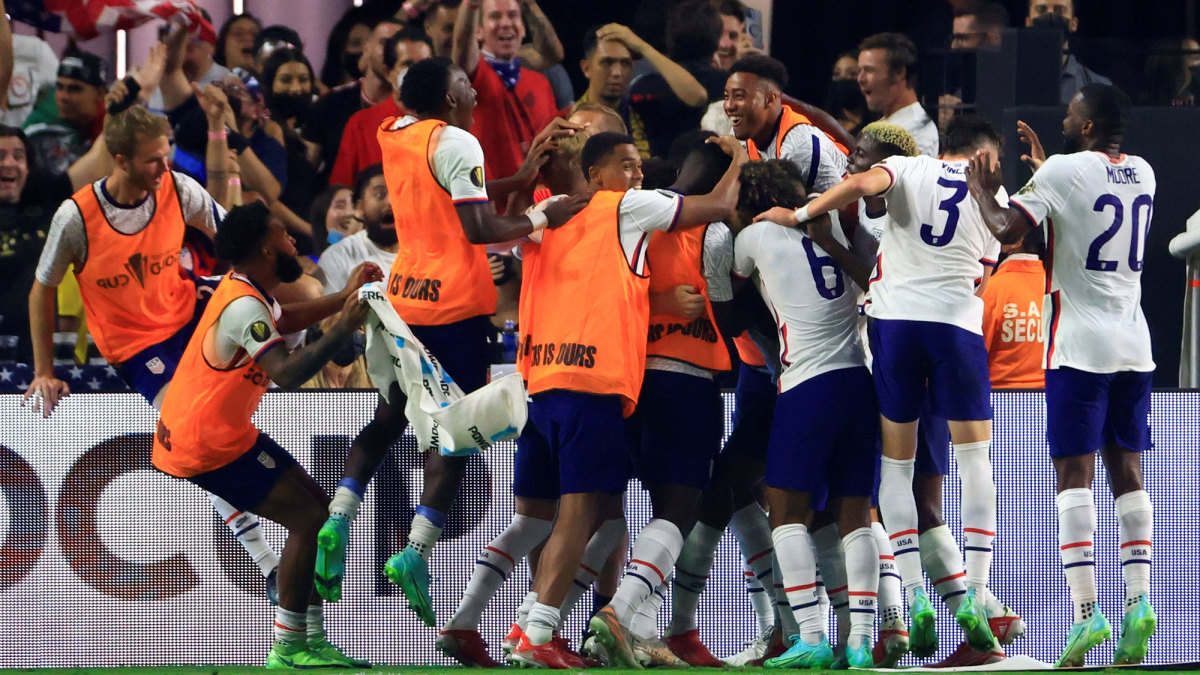 The USMNT celebrates a Gold Cup final win vs. Mexico