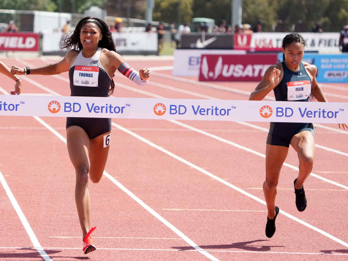 Gabby Thomas aka Gabrielle Thomas (USA) defeats Jenna Prandini (USA), left, and Allyson Felix (USA) to win the women's 200m in 22.12 during the USATF Golden Games at Hilmer Lodge Stadium.